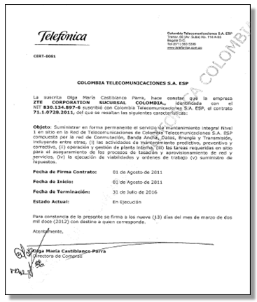Telefonica colombia managed service project telefonicas appreciation letter to zte thecheapjerseys Choice Image